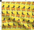 Yellow Orange Mouse Halloween Pumpkin Poodle Spoonflower Fabric By The Yard