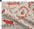 Woodland Winter Toile Cranberry Large Christmas Spoonflower Fabric By The Yard