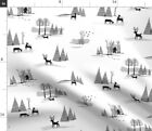 Toile Black White Christmas Winter Snow Birch Spoonflower Fabric By The Yard