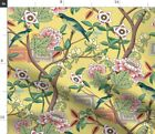 Yellow Chinoiserie Parrot Birds Chinese Inspired Spoonflower Fabric By The Yard