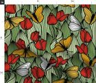 Tulip Butterfly Green Red Yellow Pollinators R - Spoonflower Fabric By The Yard