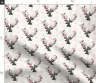 Deer Antler Floral Light Pink Plaid Coordinate Spoonflower Fabric By The Yard
