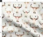 Antler Girls White Florals Antlers Bouquets Spoonflower Fabric By The Yard