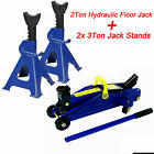 3-2 Ton Low Profile Floor Jack Stand Combo Car Truck Lift Shop Hydraulic Trolley