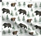 Camping Bear Trees Woodland Forest Watercolor Spoonflower Fabric By The Yard