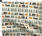 Camping Cream Bear Fox Woodland Forest Trees Spoonflower Fabric By The Yard