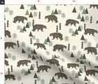 Bear Camping Geometric Trees Woodland Forest Boys Spoonflower Fabric By The Yard