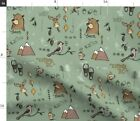 Explore Mountains Green Bear Adventure Fishing Spoonflower Fabric By The Yard