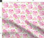 Pink Flower Floral Rose Watercolor Spoonflower Fabric By The Yard
