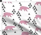 Geometric Pink Bear Pink Spoonflower Fabric By The Yard