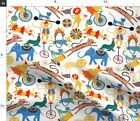 Bear Dogs Cats Lions Tigers Seals Big Top Spoonflower Fabric By The Yard
