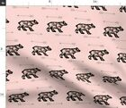 Woodland Dusty Rose Black Bear Blush Pink Rose Spoonflower Fabric By The Yard