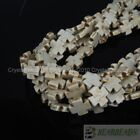 White Blue Mixed Howlite Turquoise Side Ways 15mm Square Cross Spacer Beads 16