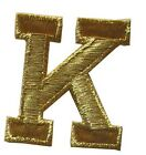 Letter---1 34 Gold Metallic Letters Embroidery Iron On Applique Patch 1pc