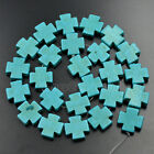 3 Strands 15mm Howlite Turquoise Gemstone Square Cross Spacer Beads 16 Pick