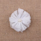 3pcs Shabby Chiffon Flowers Pearl Appliques For Hair Accessories Craft Wholesale