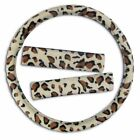 Zone Tech Cheetah Snow Leopard Steering Wheel Cover Shoulder Seatbelt Strap Pad