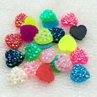 80 Pcs 12mm Ab Resin Heart Flat Back Rhinestone Hair Bow Center Accessories -a90