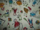 Vintage Kids Fishing Playing Toys Bty Cotton Quilt Fabric U-pick Read For Info