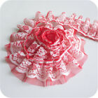 2yds Pleated Lace Trim Double Layer Ruffle Tulle Ribbon Sewing Diy 1.96 Width