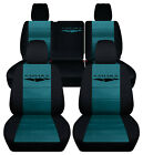 Fits Jeep Wrangler Jl 4 Dr 2018 2019 Front Rear Seat Covers Blk-teal..