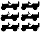 Willys Jeep Vinyl Decal Sticker X6 .75 High X 1.5 Long Inches
