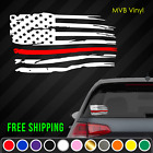 Firefighter Support Distressed American Flag Vinyl Decal Sticker Thin Red Line