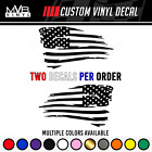 Tattered American Flag Distressed Vinyl Decal Sticker Ripped Torn Usa Set Of 2