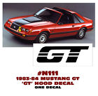 N111 1983-84 Mustang - Gt - Hood Decal Or Paint Stencil - One Decal