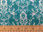 Turquoise Aqua White Scroll Damask 100 Cotton Fabric Bty Half Yard A18