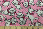 Aristocats Marie The Cat Pink Fabric By The Yard Half Kitty Cotton Fabric T514