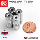 10 25 50pc 10mm X 3mm Hole 3mm N52 Strong Ring Discs Rare Earth Magnet 38x18