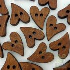 20100pcs Brown Wood Buttons Lot Heart 20x16mm Craftkids Sewing Cards Embellish