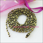 3strands Ball Bamboo Chain Necklace 2.4mm Beads Wconnector 70cm