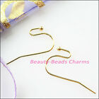 40pcs Copper Ear Wire Hook With End Ball Stopper 22mm Gold Silver Bronze Plated