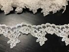 Off White Alencon Floral Tulle Lace Trim Cord Embroidery For Edging Appliques