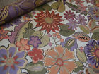 Vtg Victorian Floral Drapery Upholstery Fabric Pale Yellow Rusty Sage Red Coral