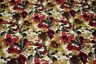 Upholstery Drapery Linen Red Floral Print Decorative Pillow Fabric 55w