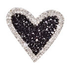 Bling Rhinestones Love Heart Embroidered Patch Iron On Sewings Crystal Appliques
