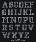2 Block Letters Number Iron-on Hotfix Motif Rhinestone Patch Colledge Font Diy