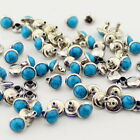 100setslot Acryl Turquoise And Brass Rivets For Leather Studs And Spikes Diy