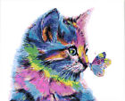 Colorful Cute Kitty Butterfly Kiss Hp Design Printed Needlepoint Canvas C130