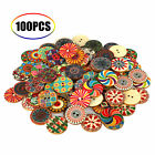 100pcslot Flower Picture Wood Button 2holes Mixed Color Apparel Sewing Diy Gift