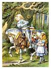 Alice In Wonderland W Knight Armored Horse Fabric Block 5x7 Or 8x10 Cotton