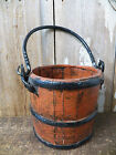 Beautiful Antique 5  Tall Wood Wooden BERRY BUCKET w  Handles Rice Grain