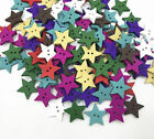 Wooden Mixed Color 2-holes Star Shapes Buttons Scrapbooking Sewing 18mm