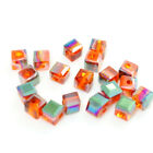 100pcs Glass Crystal Charms Cube Square Loose Spacer Beads Jewelry Findings 4mm