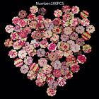 50100pcs Heart Star Butterfly Wooden Buttons 2 Holes Sewing Scrapbooking Diy