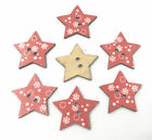 Wooden Buttons Sewing Red Star Buttons Scrapbooking Christmas Snowflake 25mm