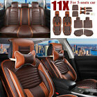 Deluxe Us 5 Seats Car Pu Leathercomfort Mesh Seat Covers Front Rear Pillows